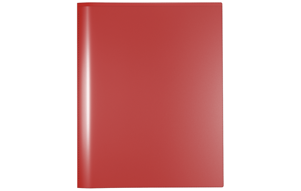 Front View of Nicky's Version 2, a Durable 2 Pocket Plastic Presentation Folder with Clear Sleeves