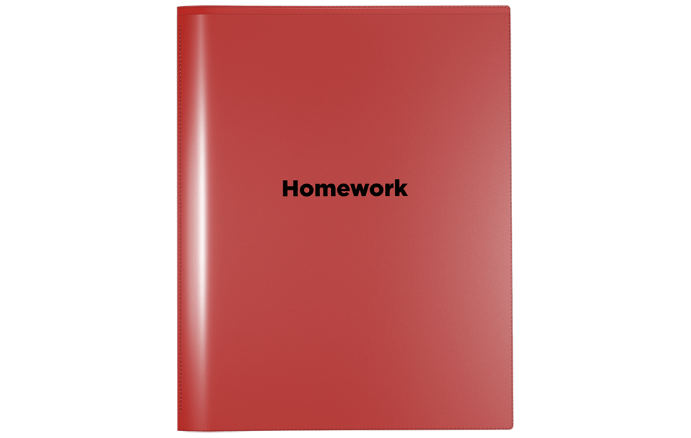 Front view of Nicky's Homework Folder. Can be use as an assignment folders, school homework folders, or homework take home holder. Also known as Friday folder